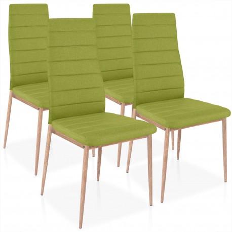 Chaises Scandinave Elsa Tissu Vert - Lot de 4