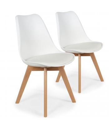 Lot de 2 chaises design scandinave Ericka Blanc pas cher