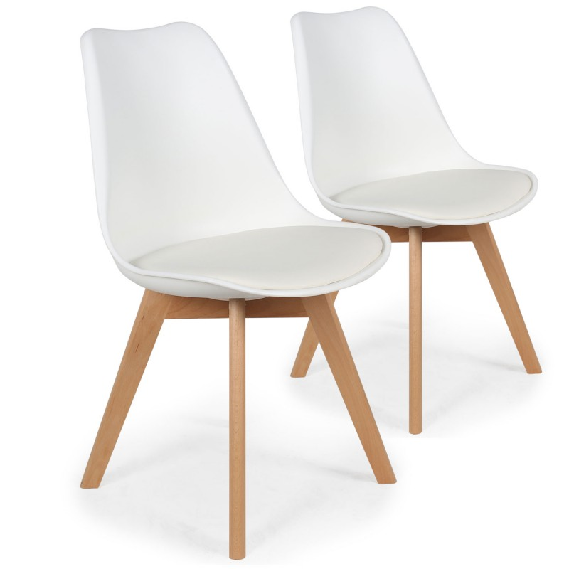 lot de 2 chaises design scandinave ericka blanc pas cher scandinave deco. Black Bedroom Furniture Sets. Home Design Ideas