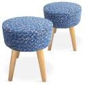 Tabourets style scandinave Mailles Bleu - Lot de 2