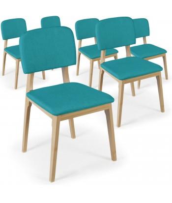 Chaises Scandinaves Klara Tissu Bleu - Lot de 6 pas cher