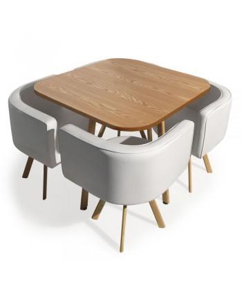 Table et chaises scandinaves Dinner Blanc et Chêne