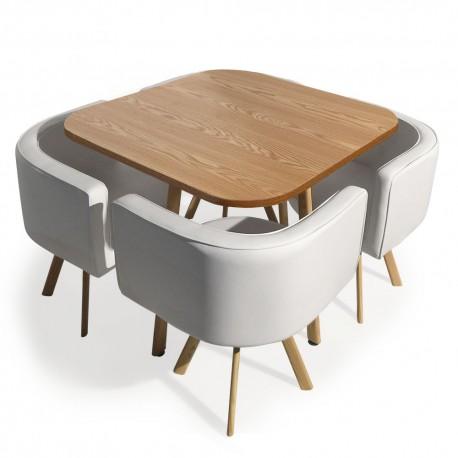 Table et chaises scandinaves Dinner Blanc et Chêne pas cher