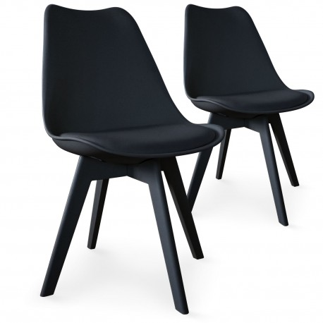 chaises scandinave colors noir lot de 2 pas cher. Black Bedroom Furniture Sets. Home Design Ideas