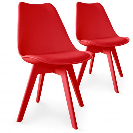 Chaises Scandinave Colors Rouge - Lot de 2 pas cher