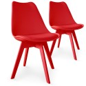 Chaises Scandinave Colors Rouge - Lot de 2