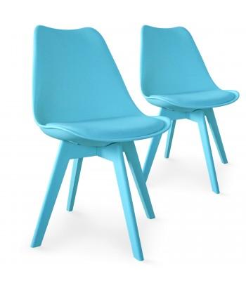 Chaises Scandinave Colors Bleu - Lot de 2 pas cher