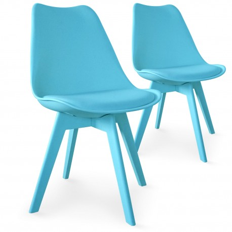 Chaises Scandinave Colors Bleu - Lot de 2