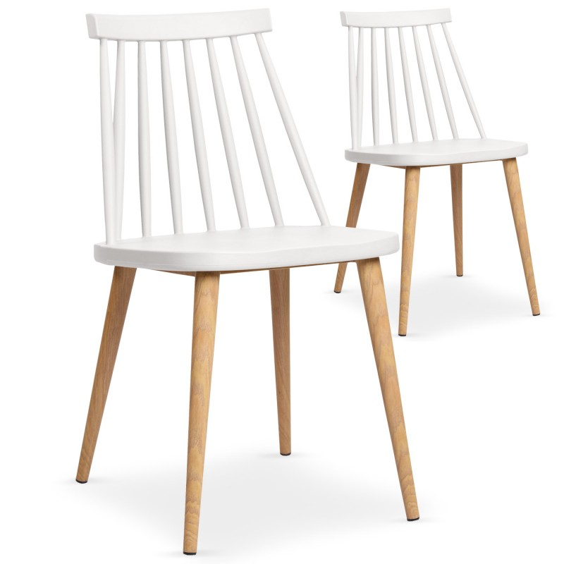 chaises scandinaves gunda blanc lot de 2 pas cher. Black Bedroom Furniture Sets. Home Design Ideas