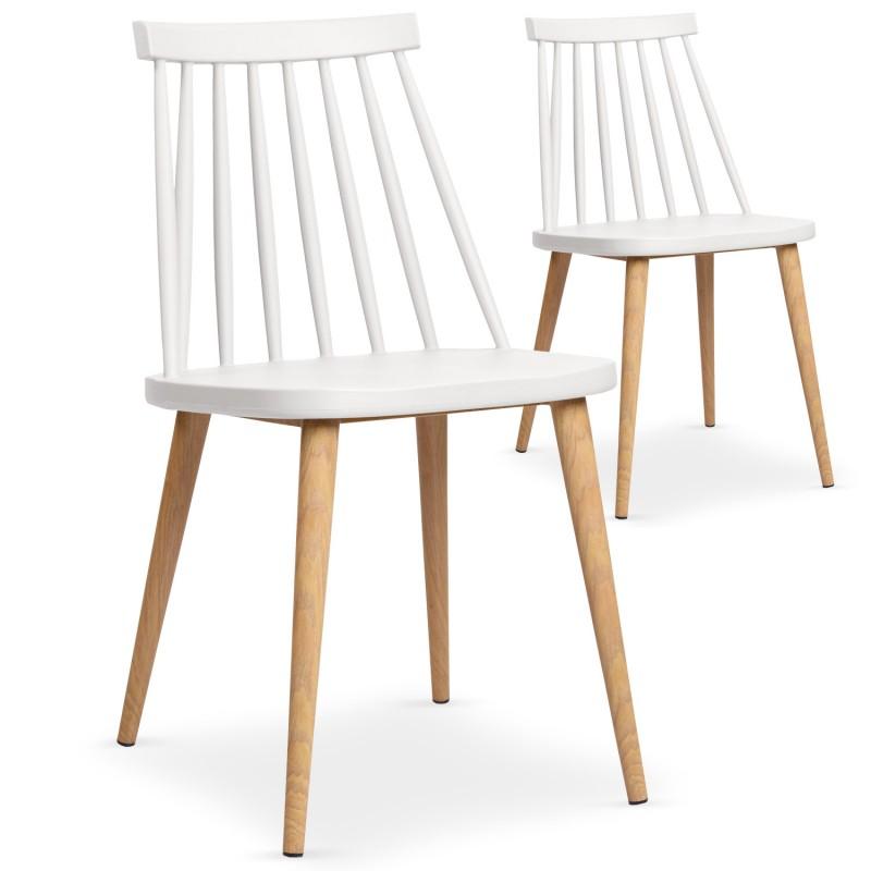 chaises scandinaves gunda blanc lot de 2 pas cher scandinave deco. Black Bedroom Furniture Sets. Home Design Ideas