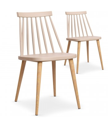 Chaises scandinaves Gunda Beige - Lot de 2 pas cher