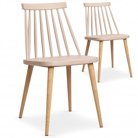 Chaises scandinaves Gunda Beige - Lot de 2