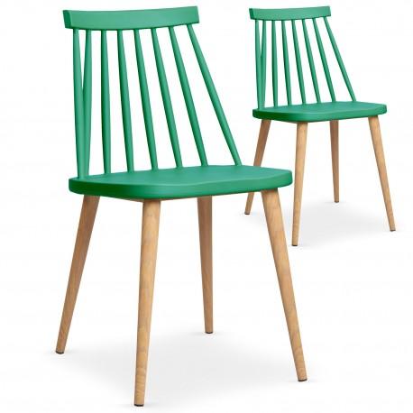 Chaises scandinaves Gunda Vert - Lot de 2 pas cher