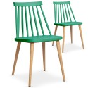 Chaises scandinaves Gunda Vert - Lot de 2