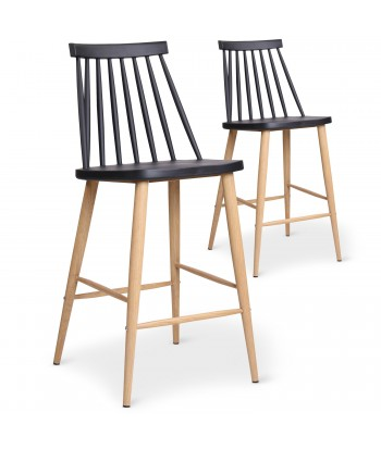 Chaises de bar scandinaves Gunda Noir - Lot de 2