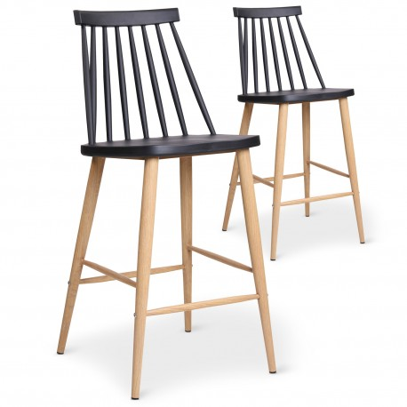 Chaises de bar scandinaves Gunda Noir - Lot de 2 pas cher