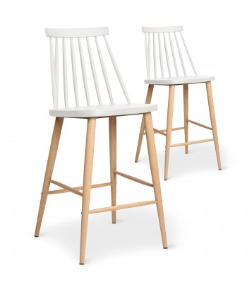Chaises de bar scandinaves Gunda Blanc - Lot de 2 pas cher