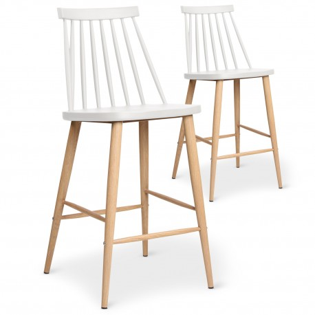 chaises de bar scandinaves gunda blanc lot de 2 pas cher. Black Bedroom Furniture Sets. Home Design Ideas