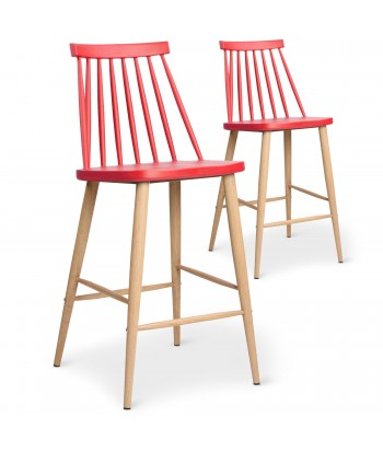 Chaises de bar scandinaves Gunda Rouge - Lot de 2 pas cher
