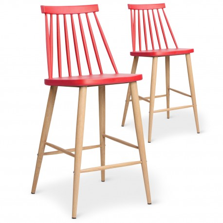 Chaises de bar scandinaves Gunda Rouge - Lot de 2
