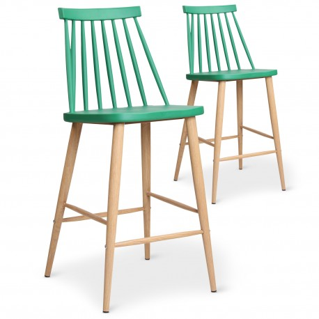 Chaises de bar scandinaves Gunda Vert - Lot de 2