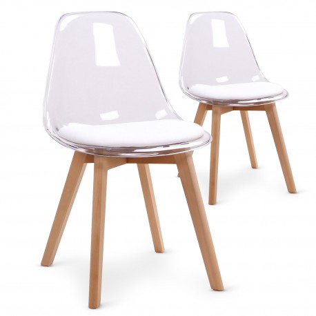 Chaises scandinaves Plexi Blanc - Lot de 2