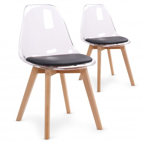 Chaises scandinaves Plexi Noir - Lot de 2
