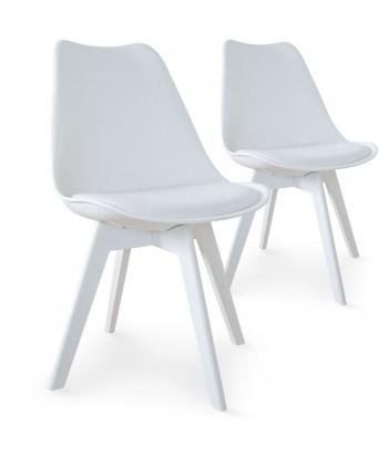 Chaises Scandinave Colors Blanc - Lot de 2 pas cher