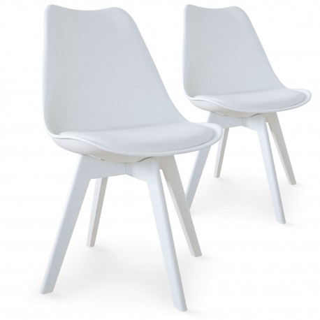 Chaises Scandinave Colors Blanc - Lot de 2 pas cher