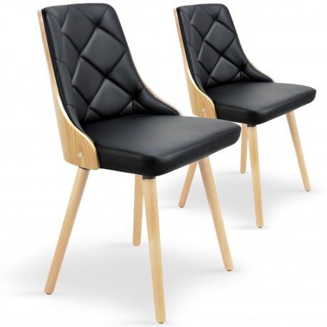 Chaises scandinaves effet cuir Chêne Clair & Noir - Lot de 2 pas cher