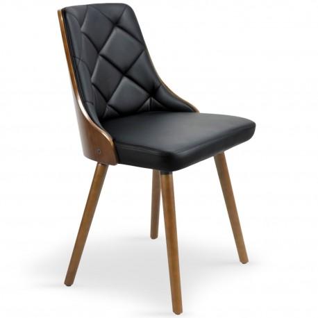 Chaises scandinaves effet cuir Bois Noisette & Noir - Lot de 2