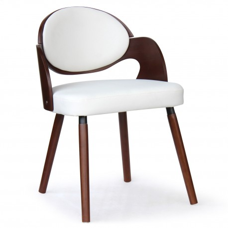 Chaise scandinave Bois Noisette et Blanc