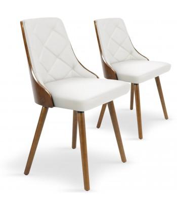 Chaises scandinaves effet cuir Bois Noisette & Blanc - Lot de 2 pas cher