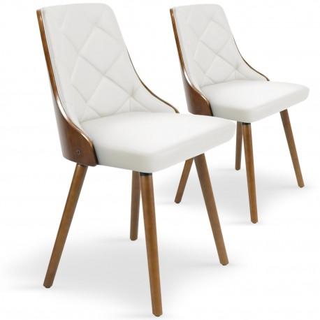 Chaises scandinaves effet cuir Bois Noisette & Blanc - Lot de 2