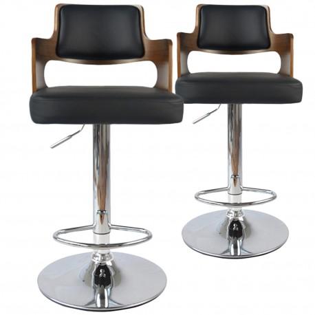 Chaises de bar effet cuir Bois Noisette & Noir - Lot de 2 pas cher