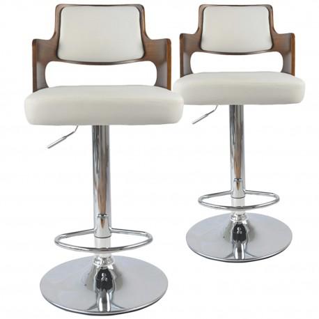 Chaises de bar effet cuir Bois Noisette & Blanc - Lot de 2 pas cher