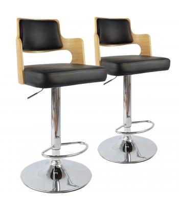 Chaises de bar effet cuir Chêne Clair & Noir - Lot de 2
