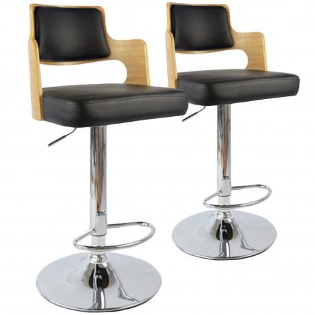 Chaises de bar effet cuir Chêne Clair & Noir - Lot de 2 pas cher
