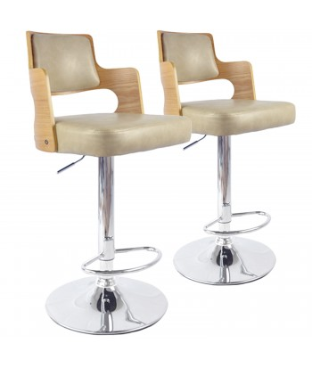 Chaises de bar effet cuir Chêne Clair & Crème - Lot de 2 pas cher