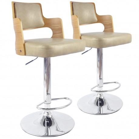 Chaises de bar effet cuir Chêne Clair & Crème - Lot de 2