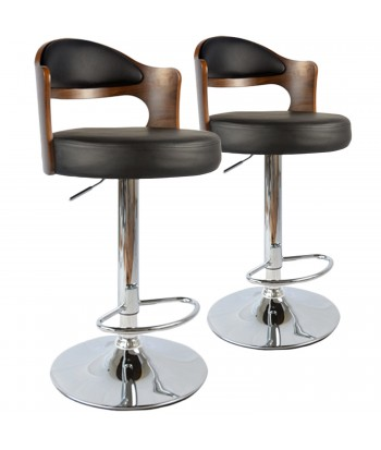 Tabouret de Bar Hallane Bois Noisette & Noir - Lot 2