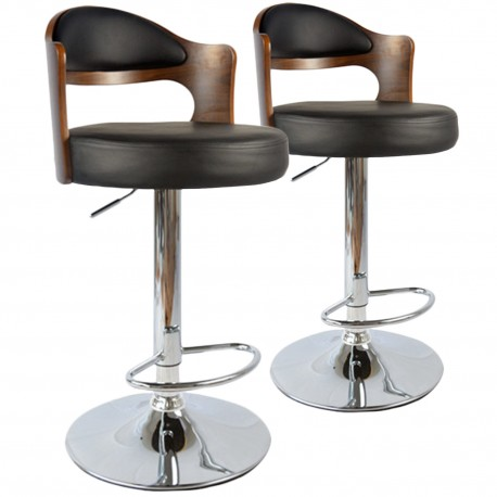 tabouret de bar hallane bois noisette noir lot 2 pas. Black Bedroom Furniture Sets. Home Design Ideas
