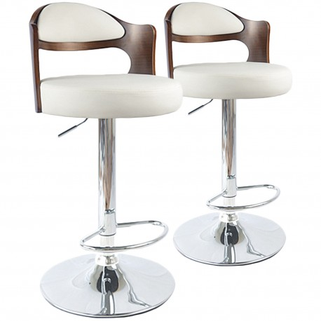 2 tabourets de bar hallane bois noisette blanc pas cher scandinave deco. Black Bedroom Furniture Sets. Home Design Ideas