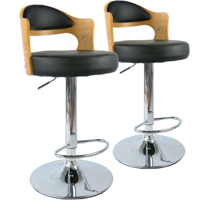 tabouret de bar hallane ch ne clair noir lot 2 pas. Black Bedroom Furniture Sets. Home Design Ideas