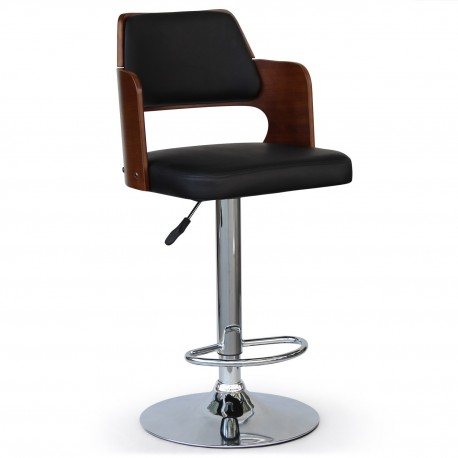 Chaise de bar scandinave bois Noisette et Noir pas cher