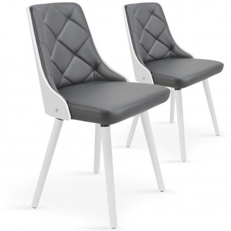 Chaises scandinaves effet cuir Blanc & Gris - Lot de 2 pas cher