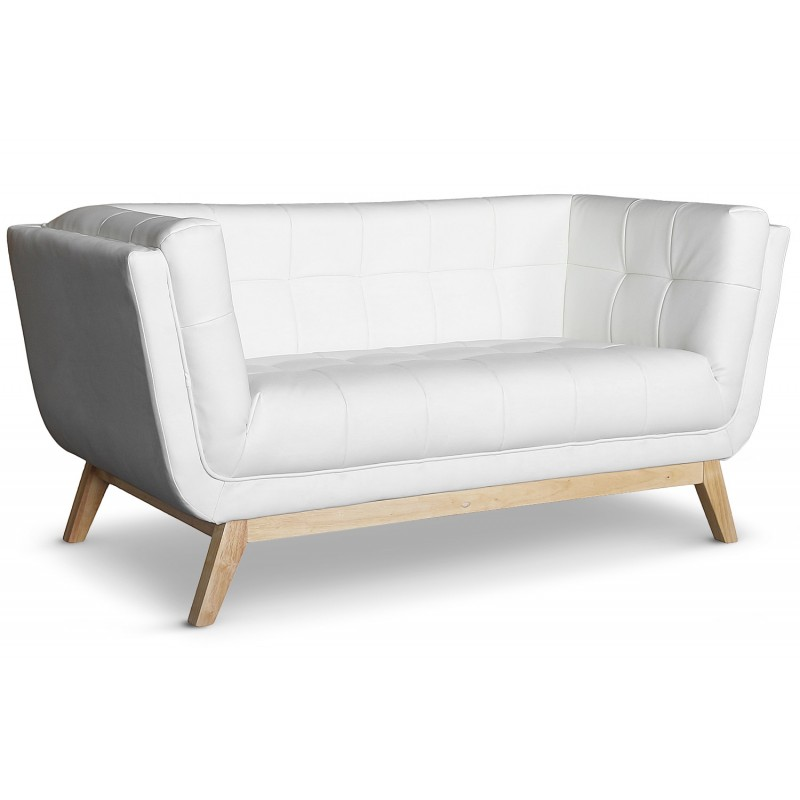 Canap scandinave 2 places blanc malena pas cher for Canape blanc 2 places