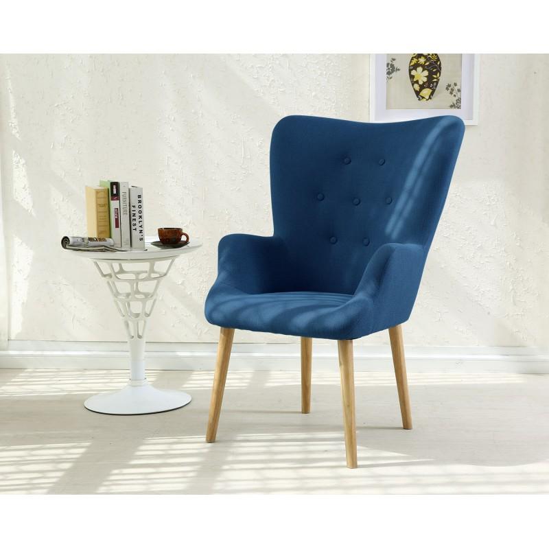 fauteuil scandinave axell tissu bleu pas cher scandinave. Black Bedroom Furniture Sets. Home Design Ideas
