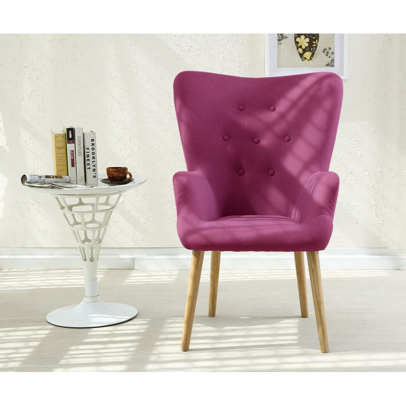 fauteuil scandinave axell tissu violet pas cher. Black Bedroom Furniture Sets. Home Design Ideas
