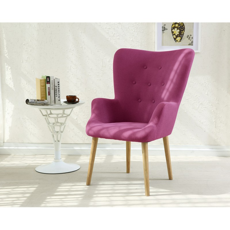 fauteuil scandinave axell tissu violet pas cher. Black Bedroom Furniture Sets. Home Design Ideas